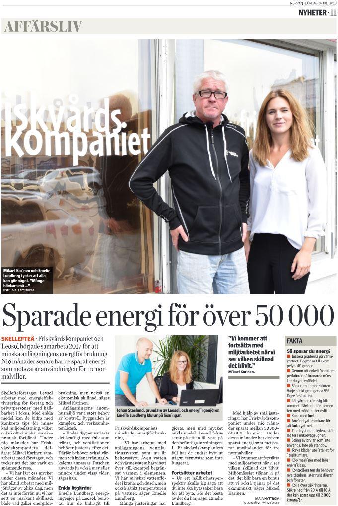 Leosol Energi:s arbete uppmärksammas i Norran!