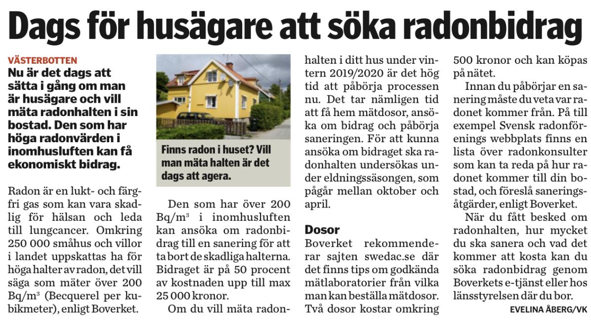 Radonproblem – nu kan husägare få 25 000 kr till inneklimatåtgärder!